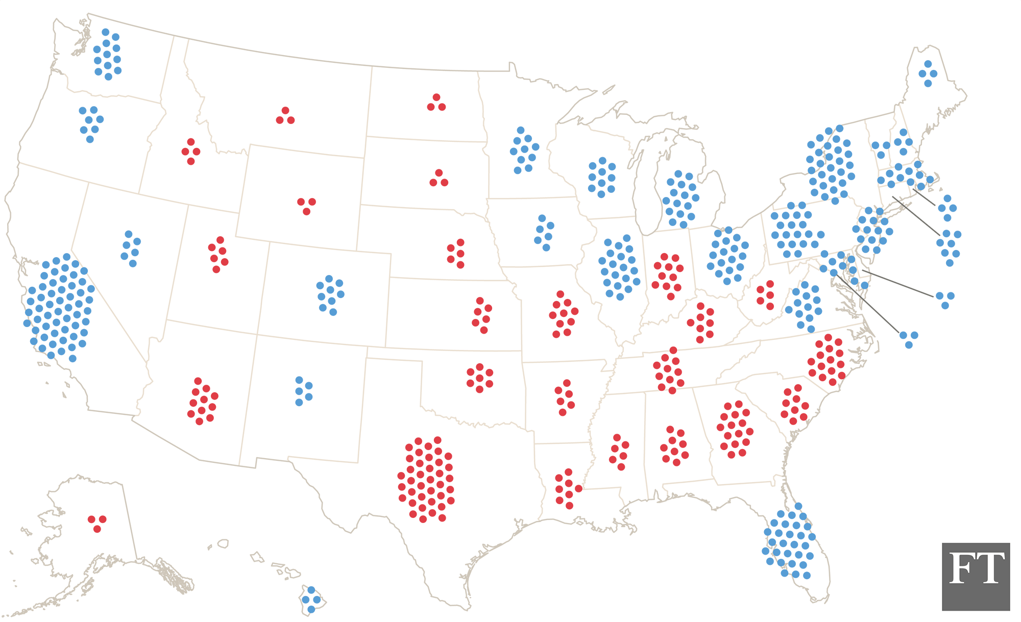 Electoral College Dot Map - Us map electoral college